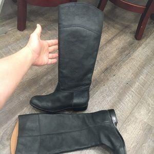 CORSO COMO Black Leather Riding Boots knee high